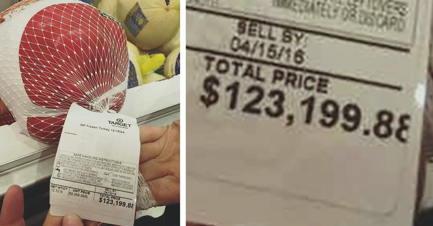 A frozen turkey at Target cost $123,000 or more specifically $123,199.88 and some made mentions of Joe Biden.
