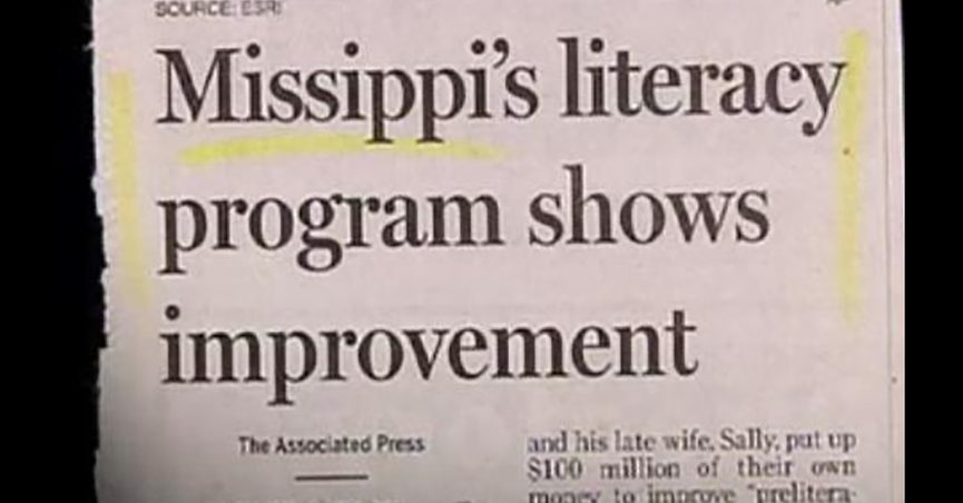 A headline said Missippi's literacy program shows improvement and claimed to be from the Associated Press in Mississippi.