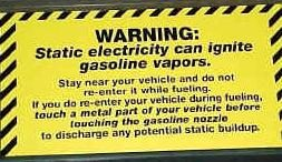 Static warning sticker