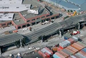 Collapsed freeway