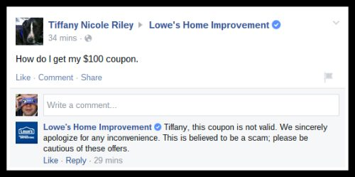 lowes coupon facebook hoax