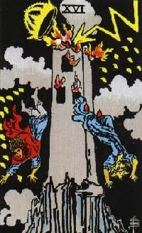 The Tower card from a Tarot deck