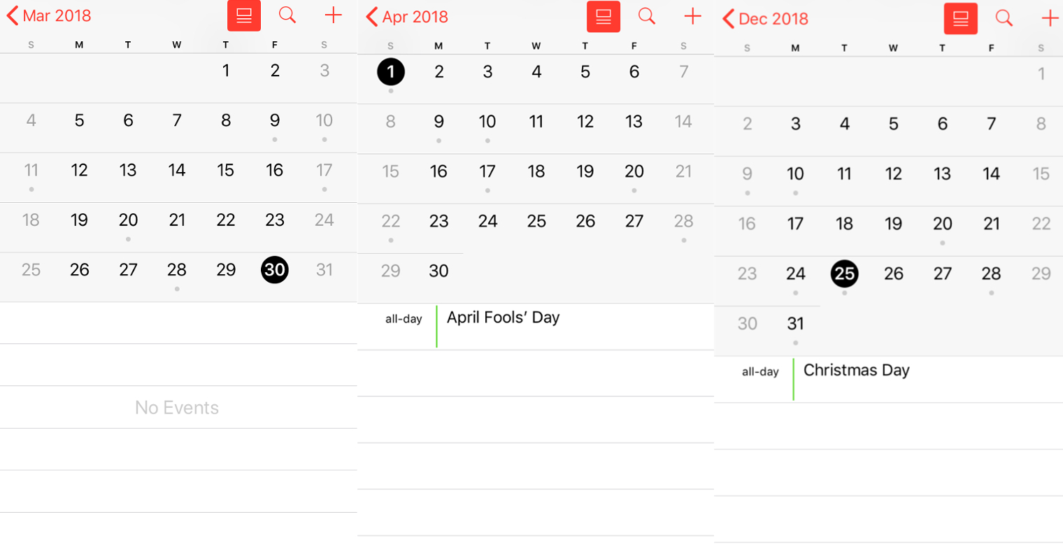 The US Holidays Calendar On IOS 1126 App Doesnt Feature Good Friday 30 March Or Easter Sunday 1 April But It Does Mark Christmas