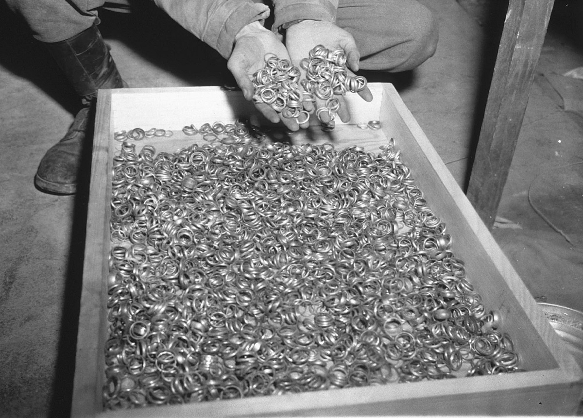 This is a picture of Does This Photo Show Wedding Rings Taken from Holocaust Victims?