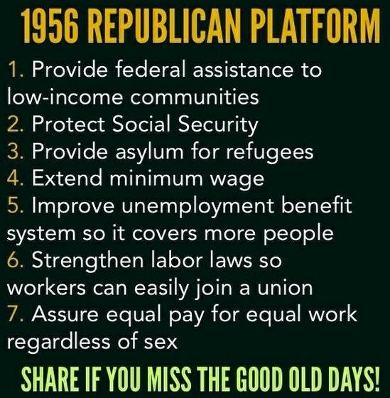 The Tenets Listed In 1956 Republican Platform Graphic Certainly Deviate From Many Of GOPs Current Party Lines But Were Following Cited Planks